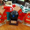 TG National Crown Green Bowls Trophy, being guarded by the TG Teds!